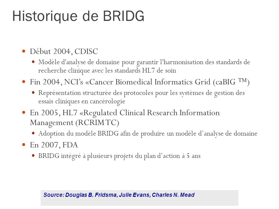 Historique de BRIDG Début 2004, CDISC