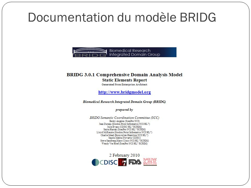 Documentation du modèle BRIDG