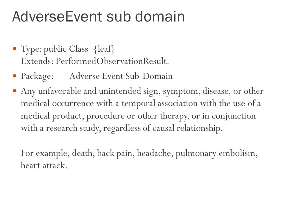 AdverseEvent sub domain
