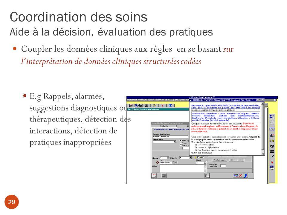 Coordination des soins Aide à la décision, évaluation des pratiques