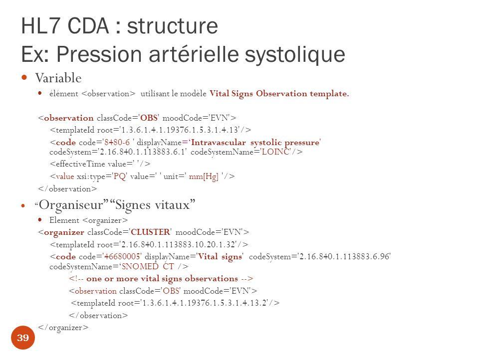 HL7 CDA : structure Ex: Pression artérielle systolique