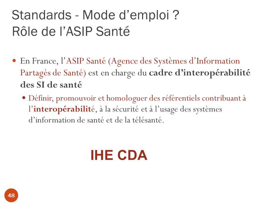 Standards - Mode d'emploi Rôle de l'ASIP Santé