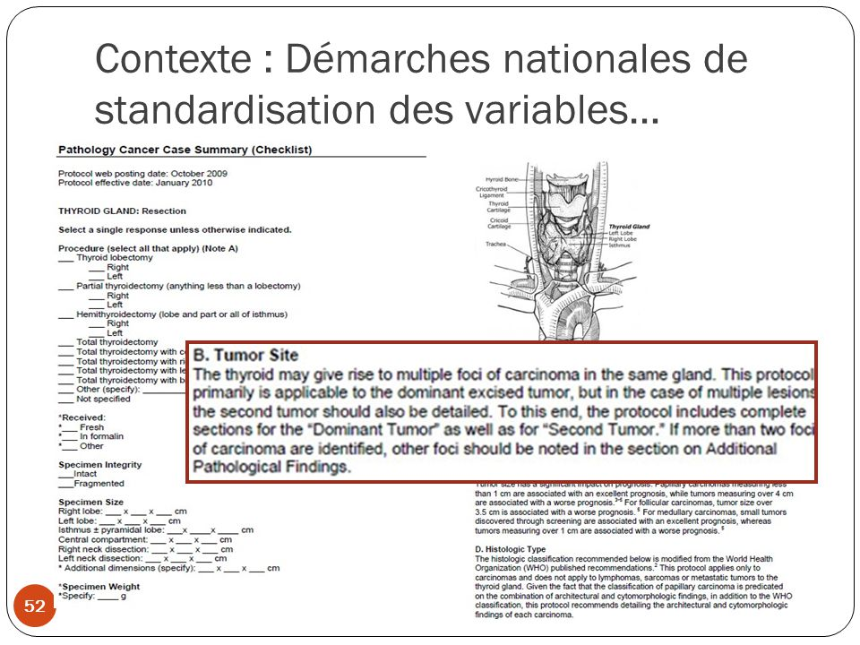 Contexte : Démarches nationales de standardisation des variables…
