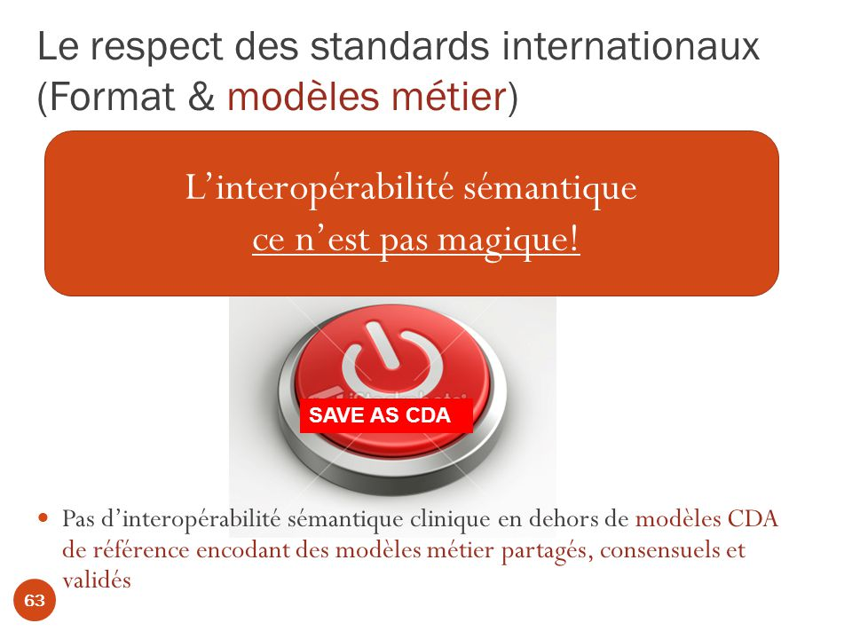 Le respect des standards internationaux (Format & modèles métier)