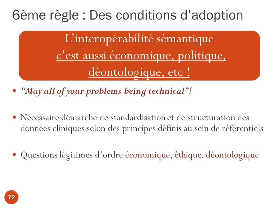 6ème règle : Des conditions d'adoption