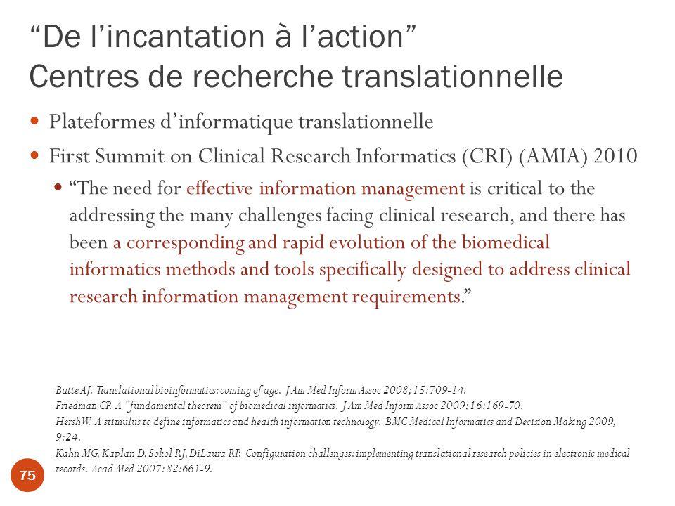 De l'incantation à l'action Centres de recherche translationnelle