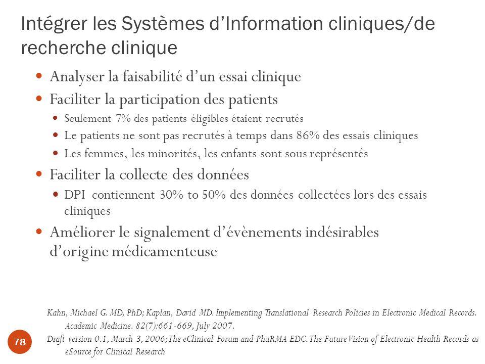 Intégrer les Systèmes d'Information cliniques/de recherche clinique
