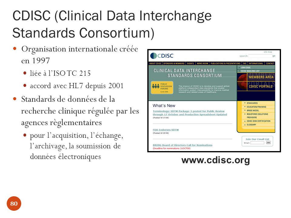 CDISC (Clinical Data Interchange Standards Consortium)