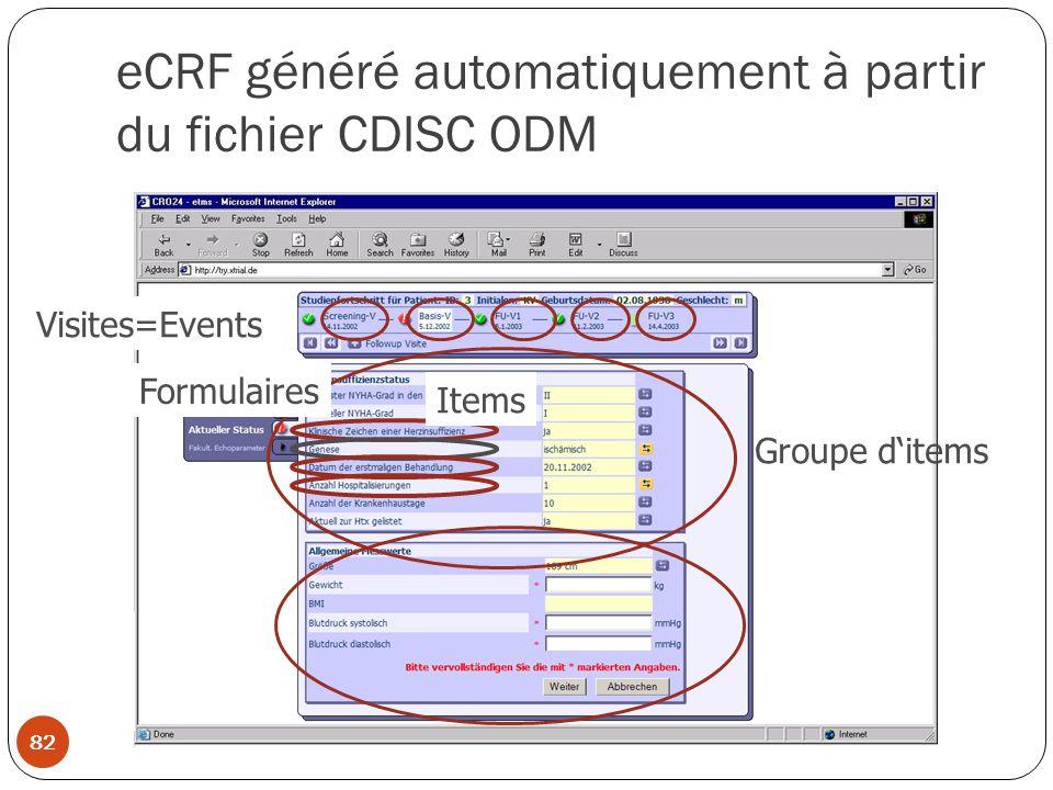 eCRF généré automatiquement à partir du fichier CDISC ODM