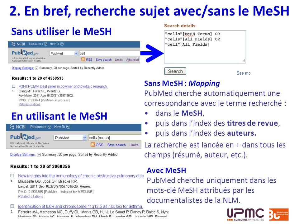 2. En bref, recherche sujet avec/sans le MeSH
