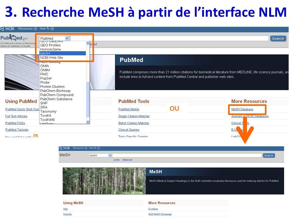 3. Recherche MeSH à partir de l'interface NLM
