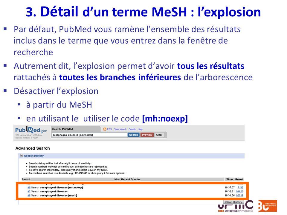 3. Détail d'un terme MeSH : l'explosion