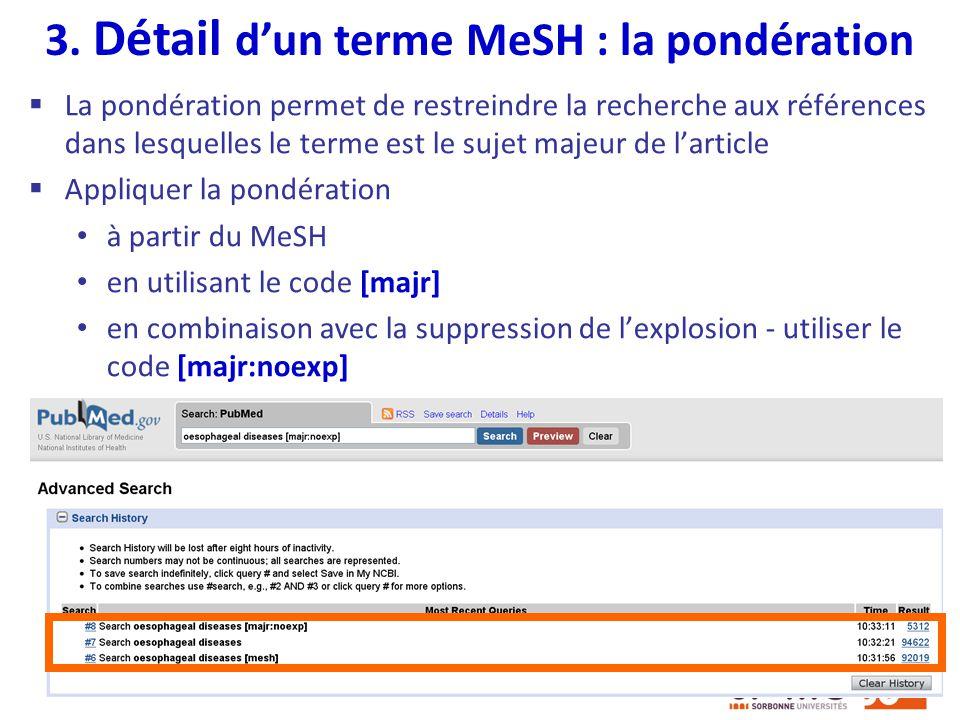 3. Détail d'un terme MeSH : la pondération