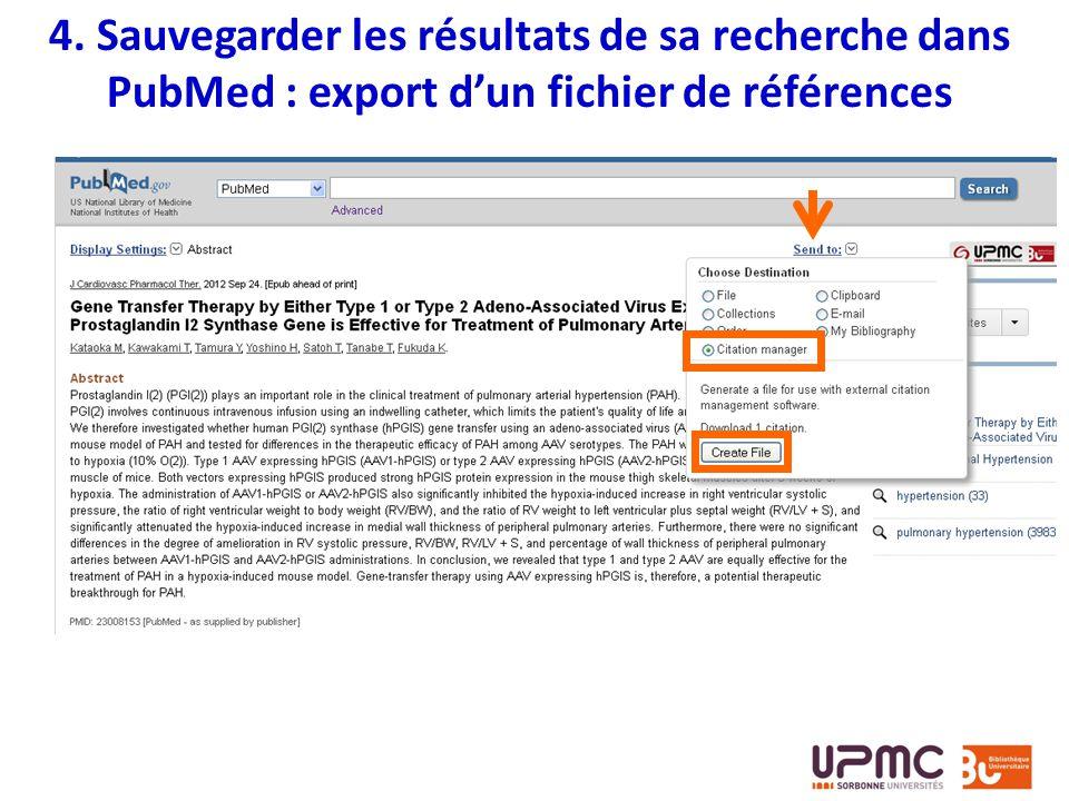 4. Sauvegarder les résultats de sa recherche dans PubMed : export d'un fichier de références