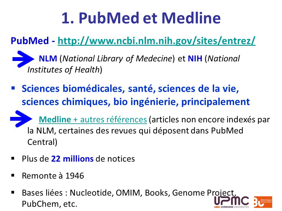 1. PubMed et Medline PubMed - http://www.ncbi.nlm.nih.gov/sites/entrez/ NLM (National Library of Medecine) et NIH (National Institutes of Health)
