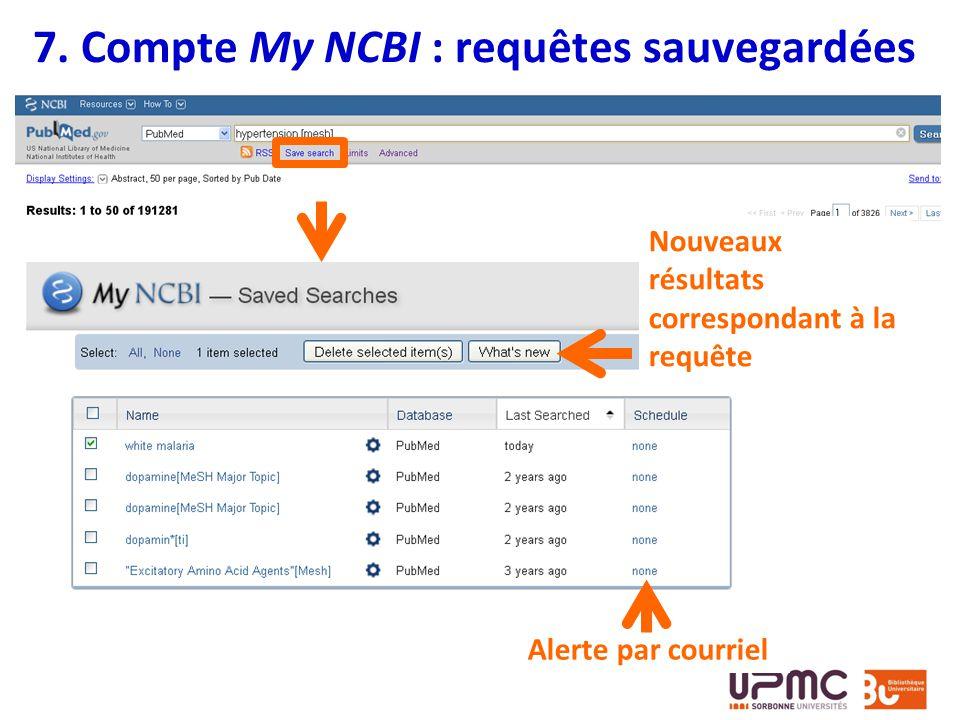 7. Compte My NCBI : requêtes sauvegardées