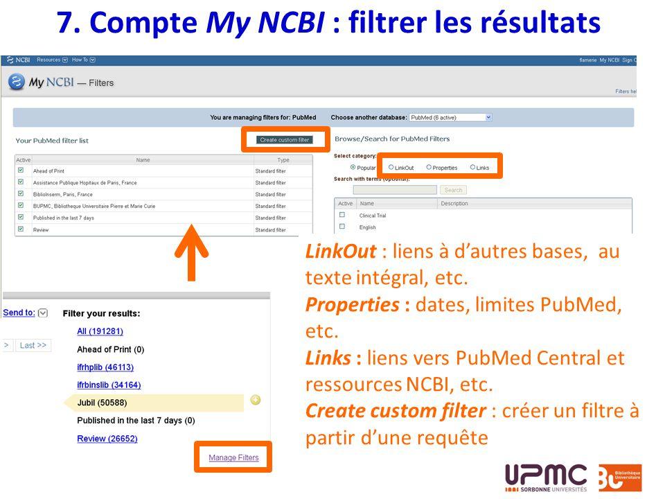 7. Compte My NCBI : filtrer les résultats