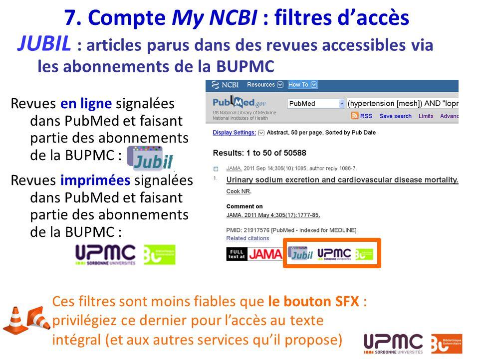 7. Compte My NCBI : filtres d'accès