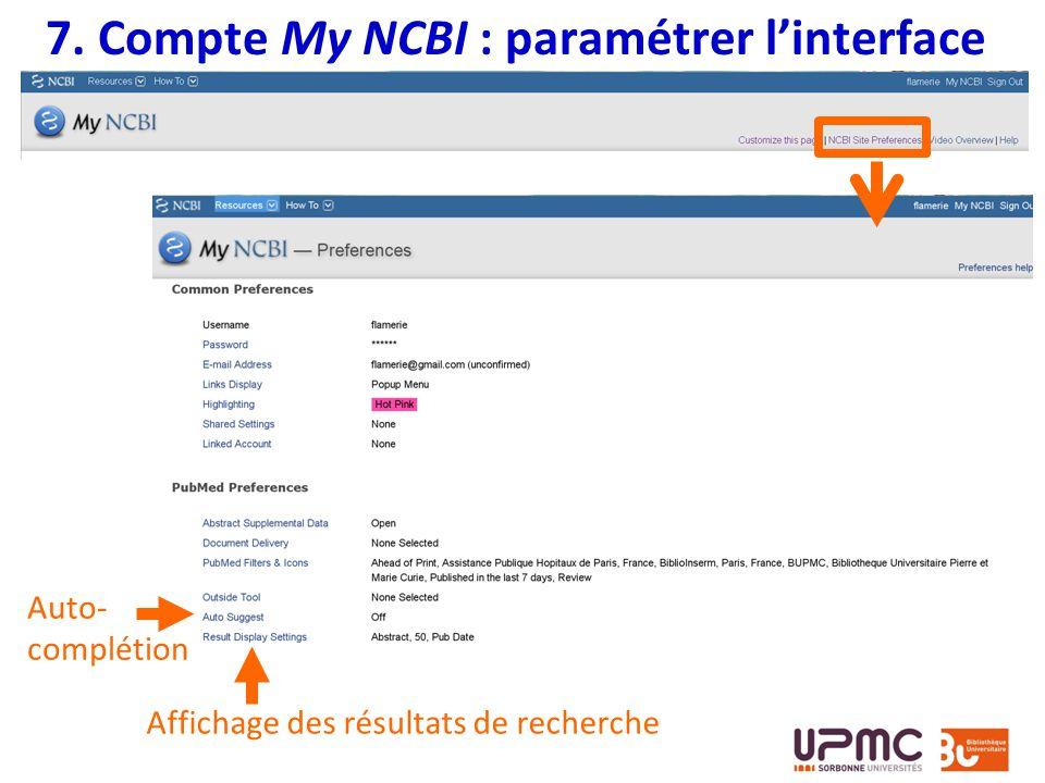 7. Compte My NCBI : paramétrer l'interface