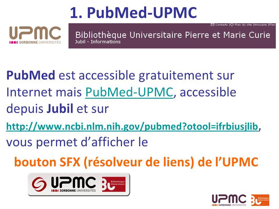 bouton SFX (résolveur de liens) de l'UPMC