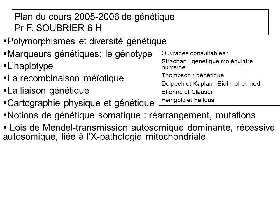 Plan du cours 2005-2006 de génétique Pr F. SOUBRIER 6 H