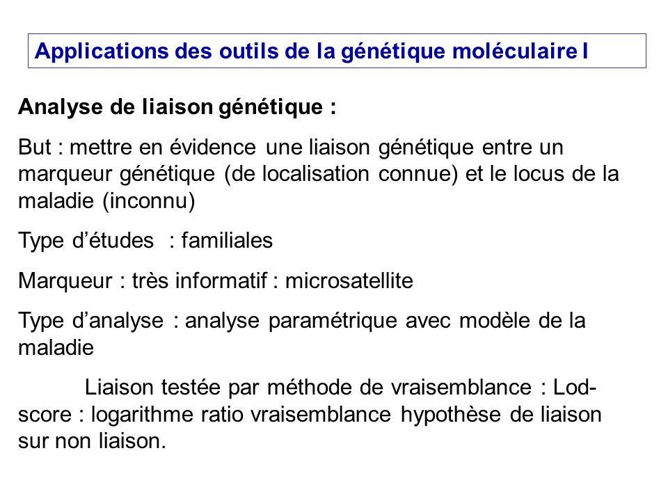 Applications des outils de la génétique moléculaire I