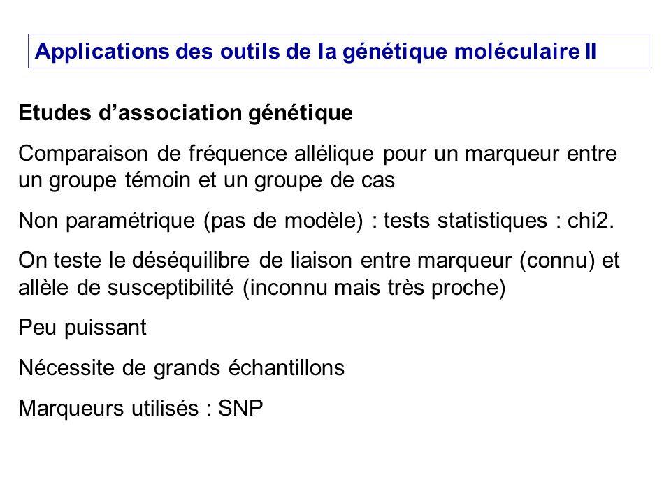 Applications des outils de la génétique moléculaire II