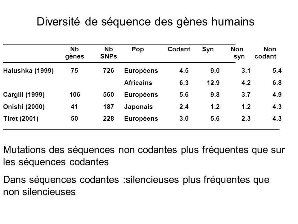 Diversité de séquence des gènes humains