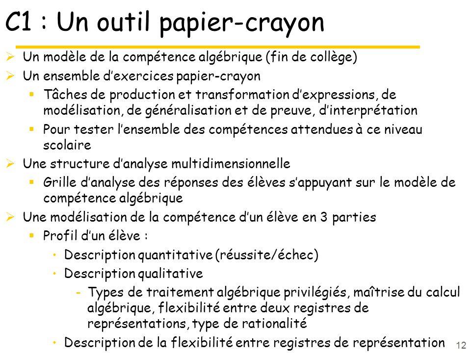 C1 : Un outil papier-crayon