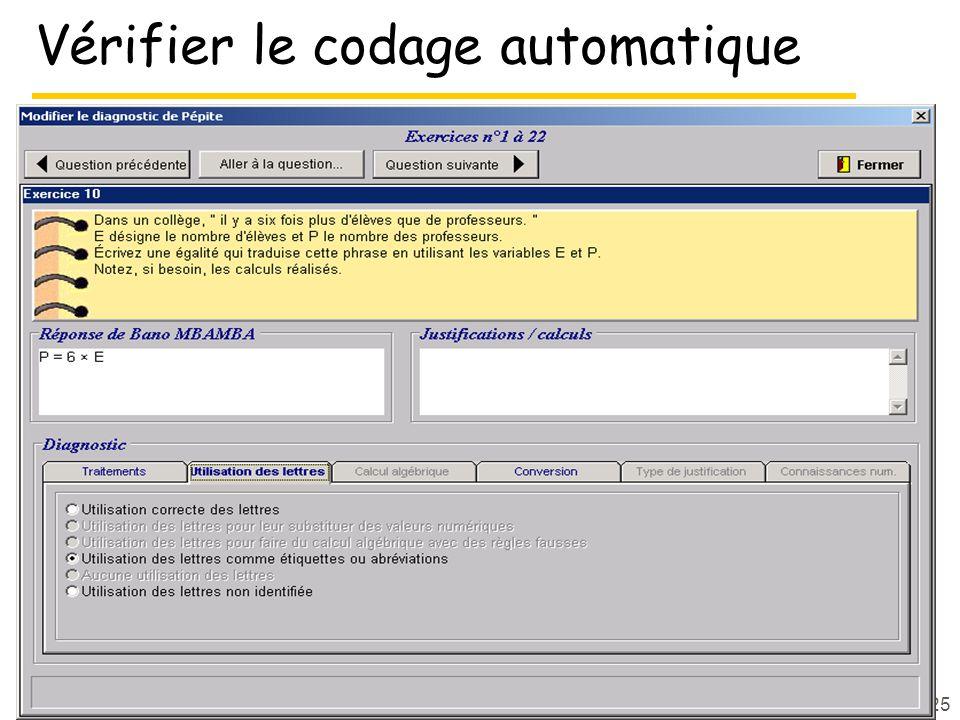 Vérifier le codage automatique