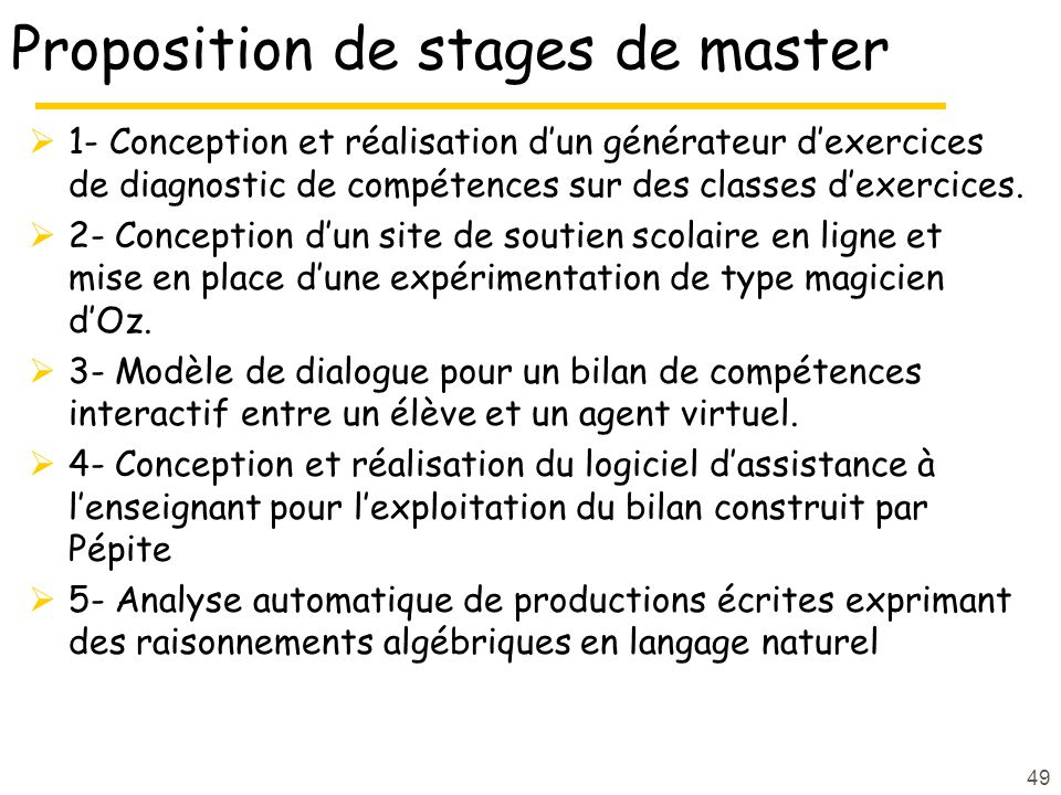 Proposition de stages de master