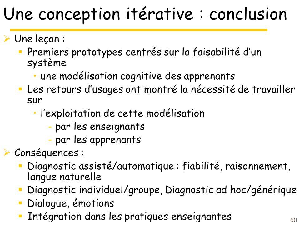 Une conception itérative : conclusion