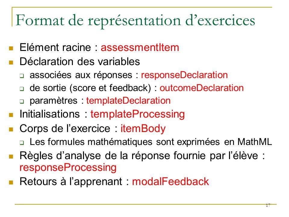 Format de représentation d'exercices