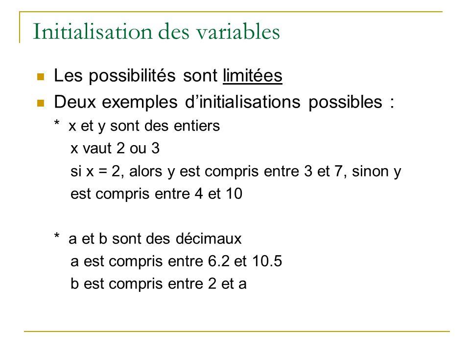 Initialisation des variables