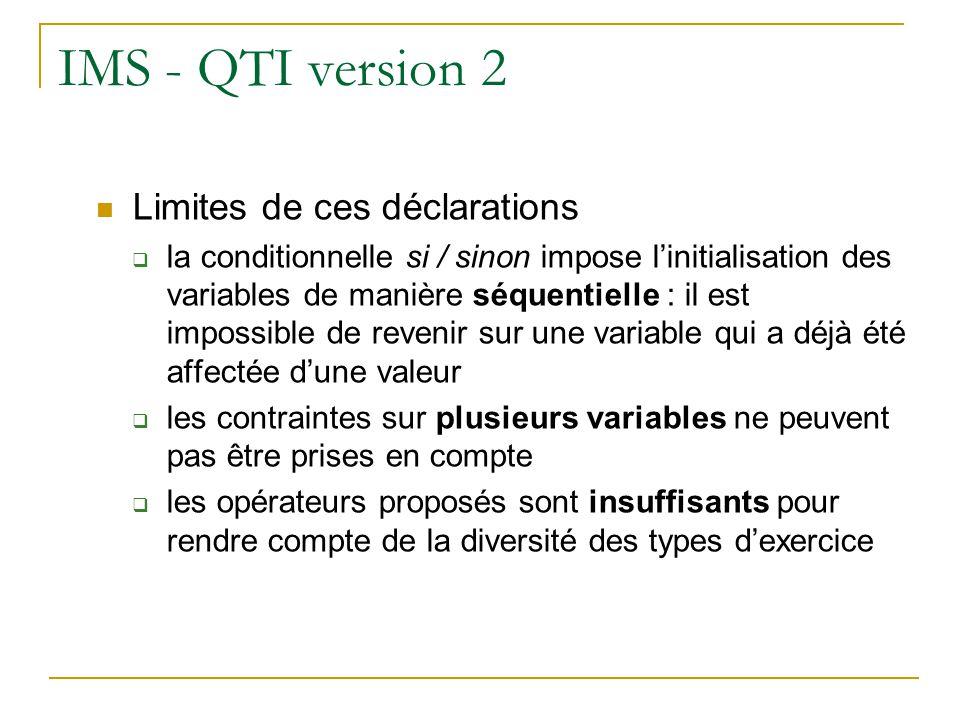 IMS - QTI version 2 Limites de ces déclarations