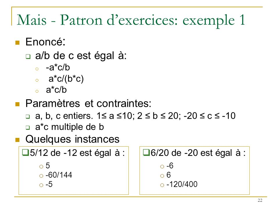 Mais - Patron d'exercices: exemple 1