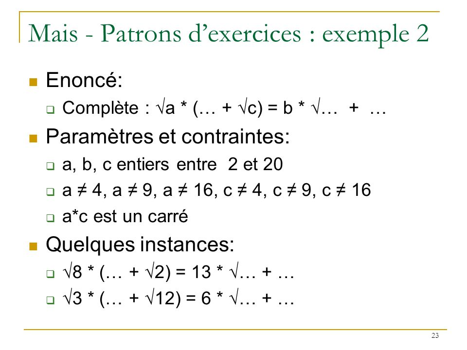 Mais - Patrons d'exercices : exemple 2