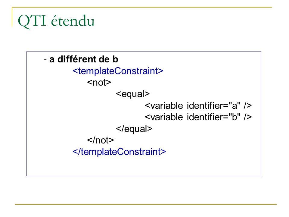 QTI étendu - a différent de b <templateConstraint> <not>