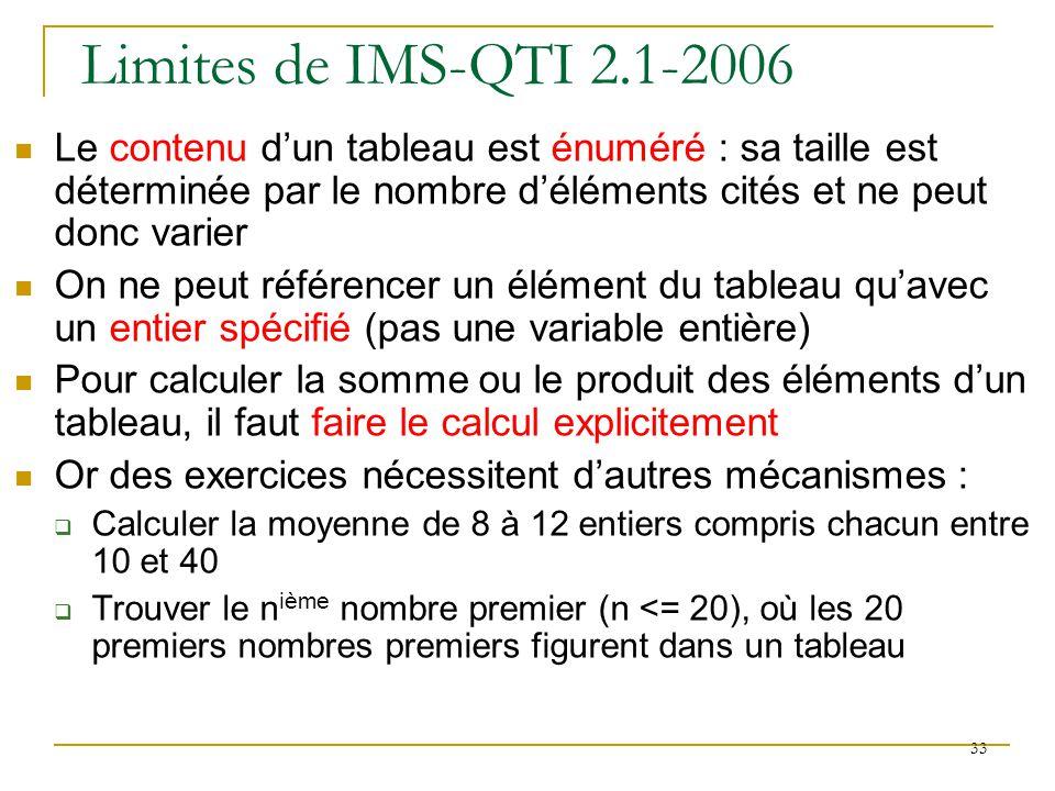 Limites de IMS-QTI 2.1-2006 Le contenu d'un tableau est énuméré : sa taille est déterminée par le nombre d'éléments cités et ne peut donc varier.