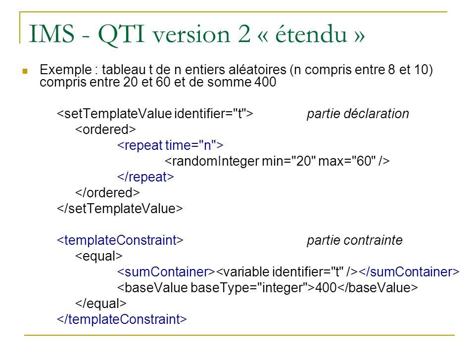 IMS - QTI version 2 « étendu »