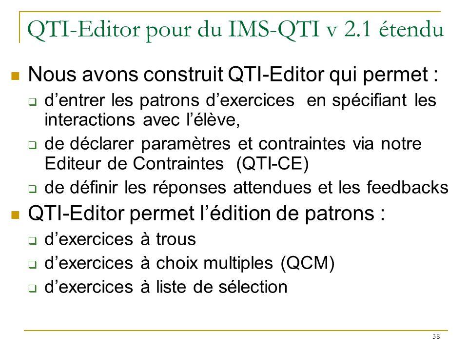 QTI-Editor pour du IMS-QTI v 2.1 étendu
