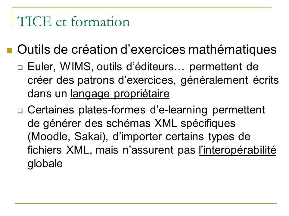 TICE et formation Outils de création d'exercices mathématiques