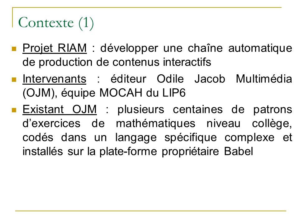 Contexte (1) Projet RIAM : développer une chaîne automatique de production de contenus interactifs.