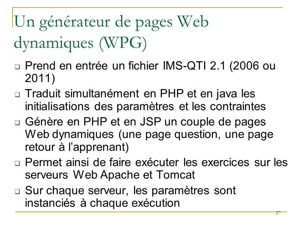 Un générateur de pages Web dynamiques (WPG)