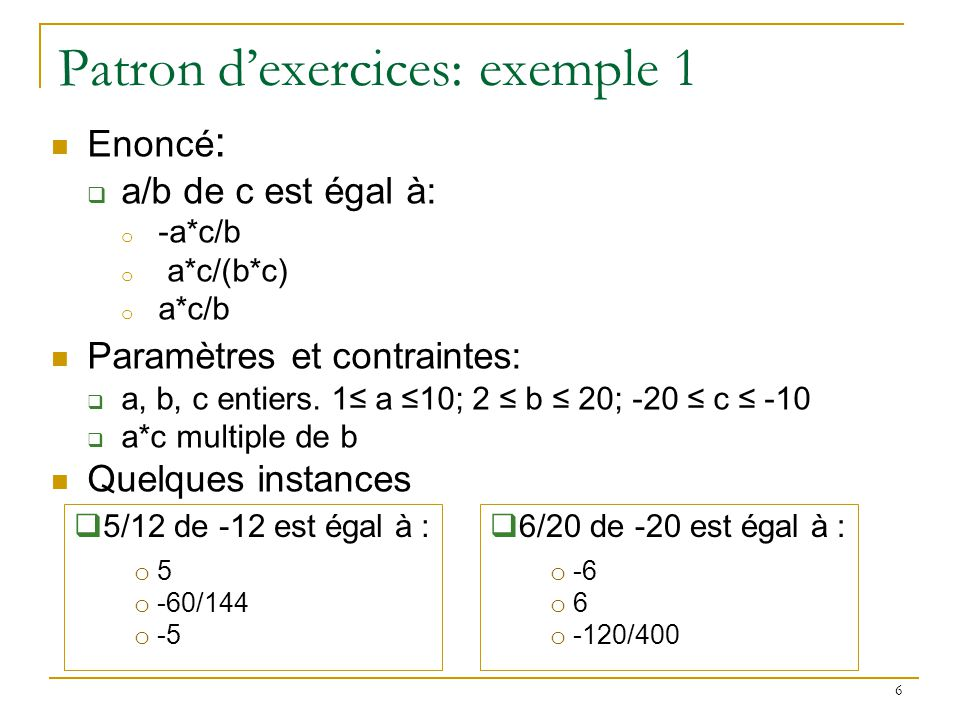 Patron d'exercices: exemple 1