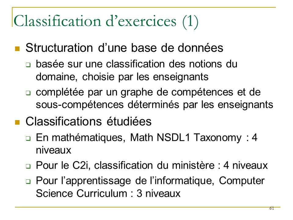 Classification d'exercices (1)
