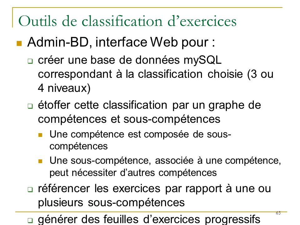 Outils de classification d'exercices