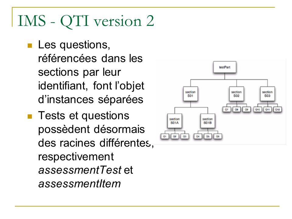 IMS - QTI version 2 Les questions, référencées dans les sections par leur identifiant, font l'objet d'instances séparées.