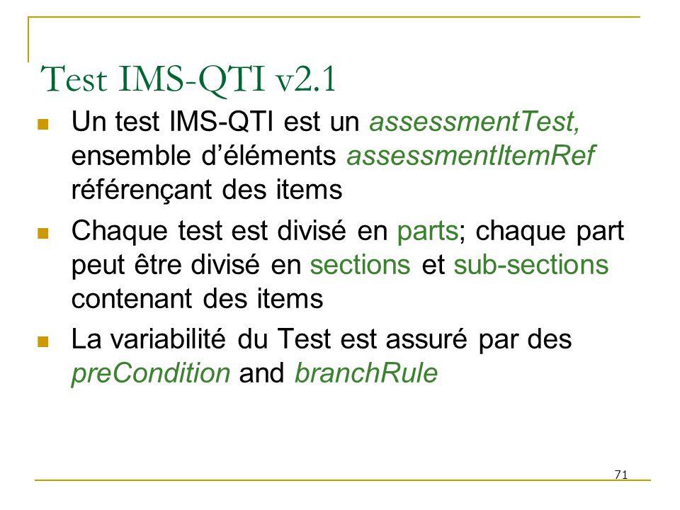 Test IMS-QTI v2.1 Un test IMS-QTI est un assessmentTest, ensemble d'éléments assessmentItemRef référençant des items.