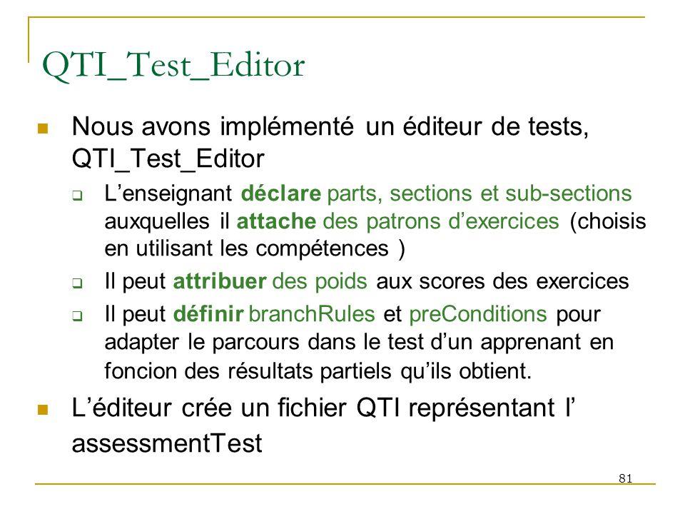 QTI_Test_Editor Nous avons implémenté un éditeur de tests, QTI_Test_Editor.